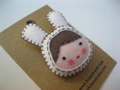 hand sewn felt brooch (put on a rabbit) on Etsy, $15.00 AUD