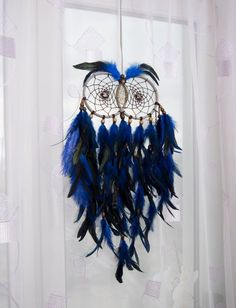cool Large Owl Dream Catcher home decor Accessories unique design handmade Owl dreamcatcher wall decor blue feathers and wooden beads handmade