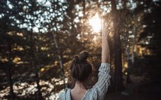 Back view of girl with victory gesture on footpath in fall forest royalty, happiness, feeling, yomost, high quality hd wallpapers desktop background free