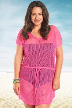 Look hot - stay cool - in this cute hot pink mesh cover up