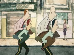 """""""The Employment"""" is a short animation directed by Santiago """"Bou"""" Grasso. He is an illustrator, animator and comic book artist born on March 1979 in Buenos Aires, Argentina. Comic Book Artists, Comic Books, Animation Stop Motion, Cinema, A Funny, Animated Gif, Illustration, Anime, Fictional Characters"""