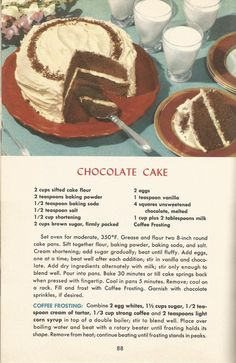 Retro Recipes, Old Recipes, Vintage Recipes, Cookbook Recipes, Baking Recipes, Cake Recipes, Dessert Recipes, 1950s Recipes, Healthy Recipes