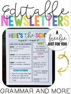 This freebie includes 3 colorful and fun editable Newsletter templates! Enjoy! Please leave a comment! I would love to hear from you!
