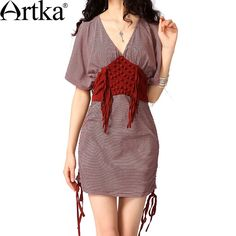 Artka Women'S Summer Bohimia Trend V-Neck Short Batwing Sleeves Patchwork Stripes Tassels Comfy Skin-Friendly Dress SA10226C via Artka. Click on the image to see more!