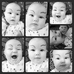 Need a laugh? Draw some eyebrows on your baby (with a washable pen please), you will be a laughing fool every time you look at him/her!