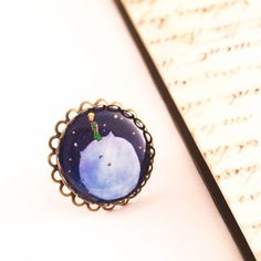 the little prince ring, little prince jewelry, le petit prince, little prince, cameo ring, el principito, blue adjustable ring, gift for her