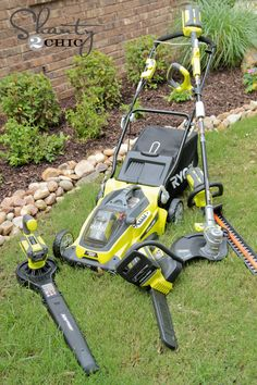 Ryobi Yard Tools A mower with a battery? You bet. Ryobi Cordless Tools, Ryobi Tools, Lawn Equipment, Tools And Equipment, Outdoor Power Equipment, Tips And Tricks, Motorhome, Garden Power Tools, Yard Tools