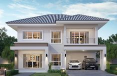 Haus bau House design plan with 4 bedrooms - Home Design with Plansearch Should I Buy A Cuck Two Storey House Plans, 2 Storey House Design, Bungalow House Design, Two Story House Design, Exterior Design Of House, Modern House Design, 6 Bedroom House Plans, Duplex House Plans, Cottage House Plans