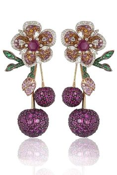 a pair of Gemfields Mozambican ruby, Gemfields Zambian emerald, diamond, pink sapphire and orange sapphire earrings by Mirari, being auctioned as part of a suite