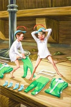 Elves And The Shoemaker -- Elves try on new clothes -- High quality art prints, framed prints, canvases -- Ladybird 1970s Childhood, My Childhood Memories, Best Memories, Grimm, Ladybird Books, Vintage Children's Books, Vintage Toys, Ludwig, 90s Kids