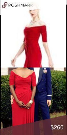 Badgley Mischka red off shoulder gown Gorgeous red off shoulder gown. Worn once to ball and dry cleaned. Badgley Mischka Dresses Prom