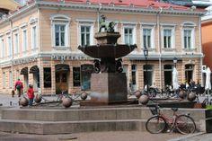 Fountain by Vähätori, Turku - Leijonasuihkulähde. Old City, Helsinki, Fountain, River, Finland, Old Town, Water Fountains, Rivers