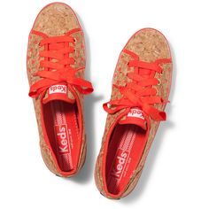 Keds Rally Cork ($30) ❤ liked on Polyvore featuring shoes, cork red coral dot, keds, keds shoes, cork shoes, polka dot shoes and dot shoes