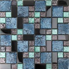 Crystal Glass Tiles Sheet colors Mosaic Art Wall Stickers Kitchen Backsplash Metal Tile Design Bathroom Shower Floor Bedroom Washroom KL785