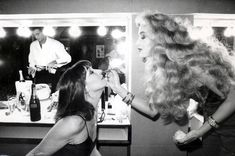 Anjelica Huston and Jerry Hall