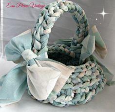 Flower Girl Basket Handmade Woven Cloth Rag by EauPleineVintage