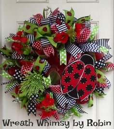 Deco Mesh Ladybug Spring/Summer Red, Black & Lime Green Wreath, Front Door Wreath, Ladybug Decor, Mother's Day, Modern Wreath, Whimsical