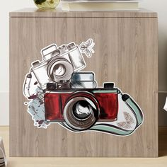 'Old School Camera Retro Vintage Photography' Sticker by Canvas Prints, Art Prints, Sticker Design, Vintage Photography, Old School, Retro Vintage, Stickers, Mugs, Art Impressions