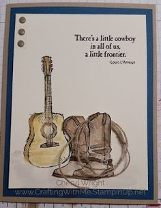 Country Livin' Stamp set using Aqua Painters to color this cowboy card.  Could used as a birthday, graduation, or sympathy card. #StampinUp #CraftingWithMe