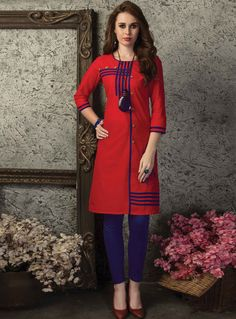 Red Cotton Readymade Kurti 120798