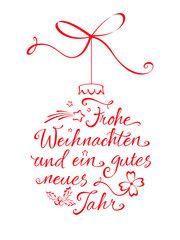 Vektor: Weihnachtskugel Typographie - Frohe Weihnachten