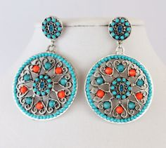Cowgirl Bling Big Cowgirl EARRINGS Gypsy BOHO Turquoise Coral Southwest Tribal