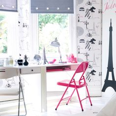 Teen girl bedroom, Paris, French theme. White with pink,grey, black. Eiffel tower! Cute study desk area.