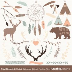 Tribal Elements 2 Clip Art. Dream Catcher, Axe, Bow, Bear, Deer, Feathers, Antlers. 34 images, 300 dpi. Eps, Png files. Instant Download. by Graphikcliparts on Etsy