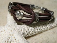 Love Knot Chocolate Heart Leather and Sterling Silver Bracelet Valentine's by TANGRA2009