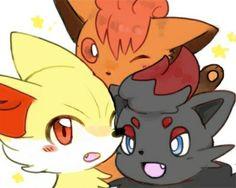 Vulpix, Fennekin and Zorua Pokemon Sun, Pokemon Fusion, Cute Pokemon, Undertale Puns, Tulip Colors, Original Pokemon, Kawaii Chibi, Cute Animal Drawings, Illustration