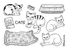 Karen`s Paper Dolls: Cats to Print and Colour. Katte til at printe og farvelægge.