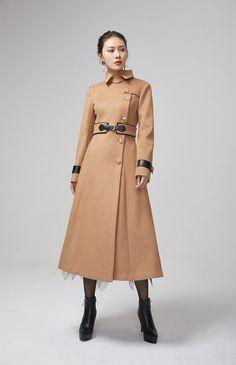 brown wool coat #xiaolizi Maxi Coat, Coat Dress, Brown Wool Coat, Asymmetrical Coat, Custom Made Clothing, Long Trench Coat, Plus Size Coats, Winter Coat, Coats For Women
