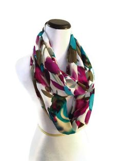 Spring Fashion Floral Print Infinity Scarf by PurpleMangoCreations,