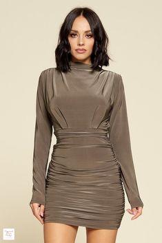 Long Sleeve Ruched Skirt Mini Dress - Mocha / L