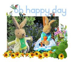 oh happy day by tornpaperco on Polyvore featuring art   -Coldham Cuddlies'  Uncle Nicholas Rabbit, and Jemima Rabbit, are honoured to be featured in this set by Linda of tornpaperco.  Thanks Linda for the lovely surprise - and your continued/continual support!