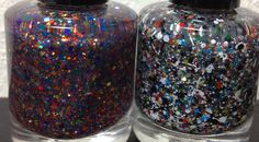 """Clown Spunk"" and ""Overspray"" glitter polish by Vapid Lacquer available on etsy Nail Polish, Glitter, Nails, Etsy, Finger Nails, Ongles, Manicure, Nail, Sns Nails"
