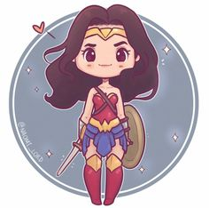 Who's excited for Justice League? I enjoyed Wonder Woman so I'm feeling optimistic? (Hopefully 😅😅) ✨💕✨ (also Ezra Miller is in it so… Cute Disney Drawings, Cute Animal Drawings, Kawaii Drawings, Cute Drawings, Kawaii Anime, Kawaii Art, Wonder Woman Drawing, Wonder Woman Chibi, Stickers Kawaii