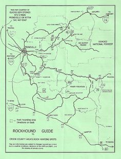 Rockhounding map, prineville, oregon