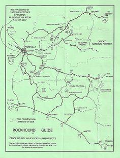 Rockhounding map, prineville, oregon