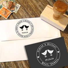 Love Birds Address or Save the Date Stamp for Wedding Invitations with a typerwiter font and your date on Etsy, $24.37 CAD