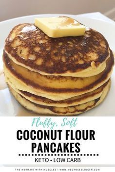 These Keto Coconut Flour Pancakes are an easy low carb breakfast. Making pancakes with coconut flour and cream cheese makes the best fluffy Keto pancakes. These low carb moderate protein pancakes are even better topped with Keto Maple Syrup! Low Carb Keto, Low Carb Recipes, Keto Carbs, 7 Keto, Healthy Recipes, Cooking Recipes, Best Keto Pancakes, Keto Cream Cheese Pancakes, Low Carb Pancakes