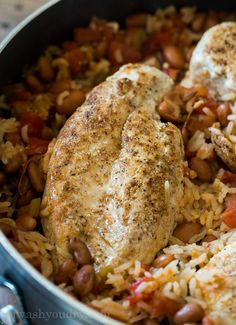 Once you add in the rice, salsa and chicken broth, place the chicken breasts back in, bring to a boil and then cover. Chicken Rice Skillet, Lemon Chicken Rice, Salsa Chicken, Mexican Chicken, Mild Salsa, Vegetarian Recipes, Cooking Recipes, Low Sodium Chicken Broth, Easy Casserole Recipes