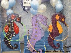 Perfect for an Under The Sea Theme party! These giant sea horses are cut from plywood and painted to add fun to the party. Using large hula hoops makes t