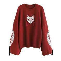 Kawaii Fashion, Cute Fashion, Fashion Outfits, Fox Embroidery, Lace Sweatshirt, Cute Sweatshirts, Plaid Mini Skirt, Japanese Outfits, Pullover
