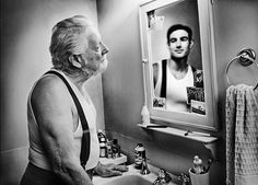'Mirrors' by Tom Hussey. Hussey photographed elderly people with their younger reflections in mirrors. Mirror Photography, Reflection Photography, Portrait Photography, Reflection Art, Photography Bags, Photography Gallery, Narrative Poetry, Foto Mirror, Mirror Mirror