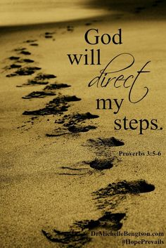 "Whenever you are tempted to think negative thoughts like ""I can't figure it out,"" think about a promise from God instead. ""God will direct my steps"". Proverbs 3:5-6. Overcome negativity using God's word. Christian Inspirational Quotes. Bible Verse. Scripture."