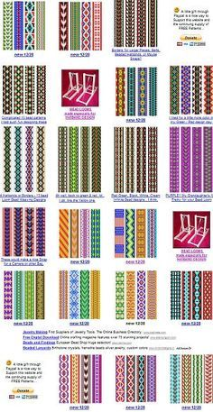 """Easy Beading Patterns for Looms - Bing images """"For the Inkle loom patterns / esquemas"""", """"free bead patterns for the loom. Maybe use these for Fair Isle Inkle Weaving, Inkle Loom, Tablet Weaving, Bead Weaving, Tapestry Weaving, Beading Patterns Free, Seed Bead Patterns, Weaving Patterns, Jewelry Patterns"""