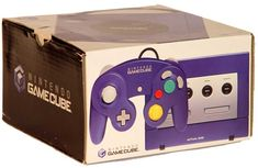 Nintendo GameCube in box. Released November 18, 2001 in North America as the successor to the Nintendo 64 it competed with the Dreamcast (which ceased production before the GameCube launched), PS2, and Xbox. There were 12 games at launch.