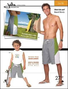 J2678 ** Jalie Board Shorts for Men ** FABRICS: Medium weight woven fabric (nylon, microfiber).  (These are for me! I have Surfin' Snoopy fabric for a non-water version)