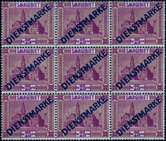 Saar 1945-1956. 25c. Thick and thin characters. (Michel 14 Ia + 14 II a). Block of 9. 2 hinged. Extremely Fine.